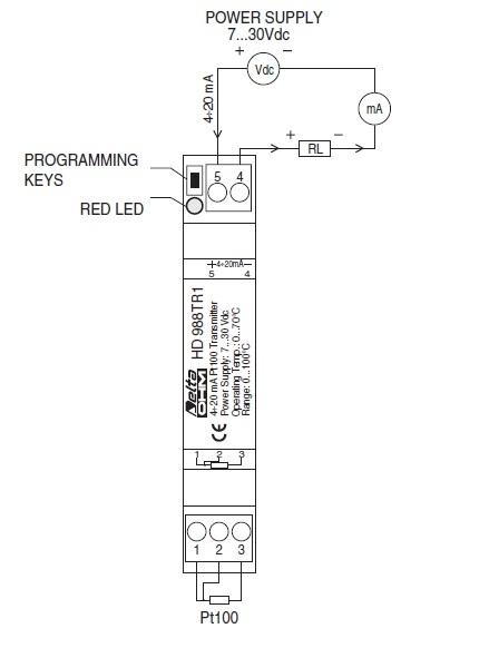 HD988TR1 Temperature transmitter Pt100 - DIN rail connection Webshop